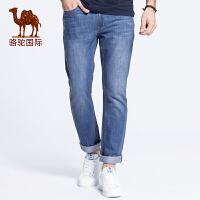 骆驼男装 春夏装中低腰修身小脚长裤 简约时尚牛仔裤男