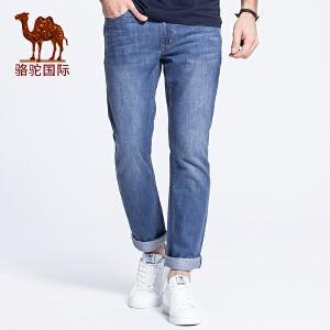 【领卷满299减200,限10月18日】骆驼男装 春夏装中低腰修身小脚长裤 简约时尚牛仔裤男