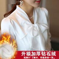 蝴蝶结衬衫女长袖秋冬职业女衬衣显瘦雪纺衫女上衣加绒打底衫 4X