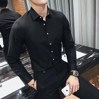 春季男士修身长袖衬衣发型师夜店酒吧KTV英伦纯色工作服衬衫寸衣