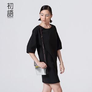初语夏季新款 圆领泡泡袖宽松连衣裙女8622432083