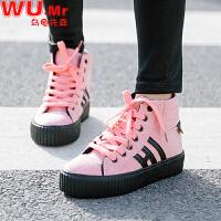 乌龟先森 运动鞋 女士冬季新款加绒保暖拼色棉靴马丁圆头鞋女式系带高帮学生鞋子