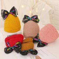 秋冬宝宝毛线帽子蝴蝶结儿童女童婴儿女孩潮针织