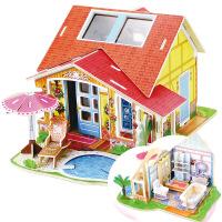 儿童益智拼图玩具 益智立体拼图插板 DIY小屋模型 梦幻别墅
