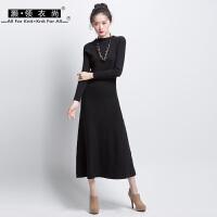 秋冬黑色针织长裙长袖竖条纹优雅气质高腰修身连衣裙打底a裙圆领