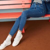 美特斯邦威牛仔长裤女2017秋冬季新款黑色修身小脚裤子韩版显瘦