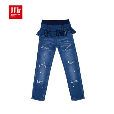 季季乐2017春季新款中小童女荷叶边水洗牛仔裤长裤GQK63209