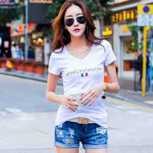 夏季简约短袖T恤女韩版修身半袖T��上衣学生百搭打底衫体恤小衫棉ZY3830
