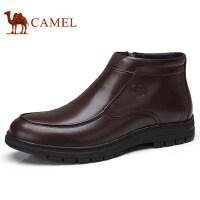 camel 骆驼男鞋 秋冬新款商务休闲皮靴柔软真皮加绒保暖皮鞋男