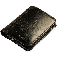 驾驶证钱包一体男士钱包短款男式竖款钱夹韩版时尚皮夹 黑色
