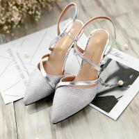 女鞋2019春夏新款韩版银色尖头高跟凉鞋猫跟细跟百搭网红单鞋中跟