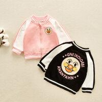 男童外套夹克童装婴童卡通印花棉质夹克棒球服插肩外套