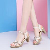 大东同款同款2019夏季新款凉鞋女 粗跟中高跟妈妈鞋高跟韩版码女鞋大码-
