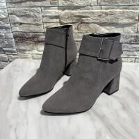 秋冬2019新款潮女短筒时装靴时尚欧式潮流中跟坡跟女靴子性感百搭