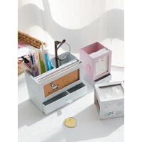 优湃 可爱创意时尚抽屉收纳盒韩国小清新学生办公桌面多功能笔筒