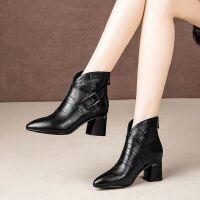 新款短靴女冬季靴子女2019中跟粗跟中筒加绒英伦风马丁靴百搭女靴 金典黑色
