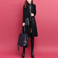 秋冬季韩版女纯色中长款针织开衫口袋宽松长袖外套加厚外搭