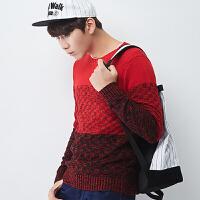 (2件3折价47.4元)唐狮冬装新款男士毛衣韩版潮流学生撞色毛衫拼接圆领长袖毛衣