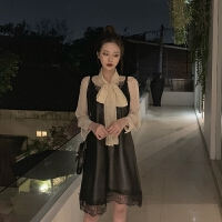 韩风甜美蕾丝拼接皮裙气质宽松吊带连衣裙女绑带蝴蝶结衬衫