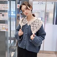 网红毛衣女秋冬新款韩版蕾丝娃娃领衬衫宽松针织衫两件套