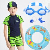 韩版宝宝游泳分体泳装 儿童分体泳装 男童泳衣平角 小童中大童温泉速干泳装鳄鱼