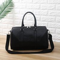 男士手提旅行包大容量短途商务出差包单肩行李包旅行袋折叠旅游包 编织黑色