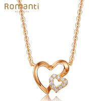 罗曼蒂珠宝裸钻定制18K金钻石项链时尚轻奢青春女款爱心锁骨链 需定制