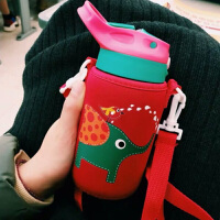 汉馨堂 卡通玻璃杯 带吸管韩版原宿大容量水杯子男女学生防漏便携创意水壶