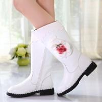 女童靴子2017新款冬季韩版加绒真皮高筒靴白色公主甜美马丁靴棉鞋