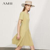 Amii极简温柔风气质连衣裙女2021夏季新款显瘦修身中长款\预售8月2日发货