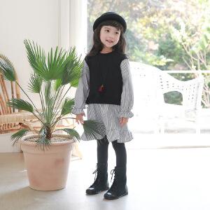 女童连衣裙童秋冬品针织拼接假两件连衣裙童装女童