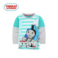 【一件5折】托马斯正版童装男童春装纯棉长袖圆领条纹T恤