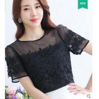 夏季女士性感透视短袖黑色蕾丝衫时尚镂空雪纺T恤上衣