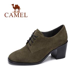 camel/骆驼女鞋 秋季新品简约英伦粗跟反绒高跟鞋 时尚系带圆头单鞋