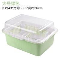 碗筷收纳盒厨房碗柜塑料沥水碗架带盖餐具放碗碟架滴水碗盘置物架 大号绿色 1120g