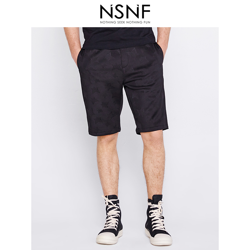 NSNF星星肌理黑色针织男士修身短裤 休闲裤 短裤男2017新款 潮牌男裤 当当自营 高品质设计师潮牌