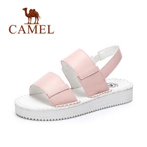 camel骆驼女鞋  春夏新款 欧美风休闲厚底鞋弹力带松糕凉鞋