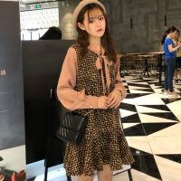秋冬女装韩版中长款chic气质领口系带拼接长袖呢子连衣裙学生裙子 图片色