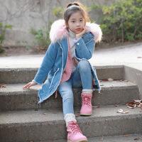 JP3986韩版女童装大毛领中大童牛仔夹棉外套中长款亲子装大衣
