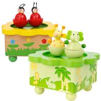 木质儿童动物八音盒玩具旋转小孩子宝宝创意音乐盒