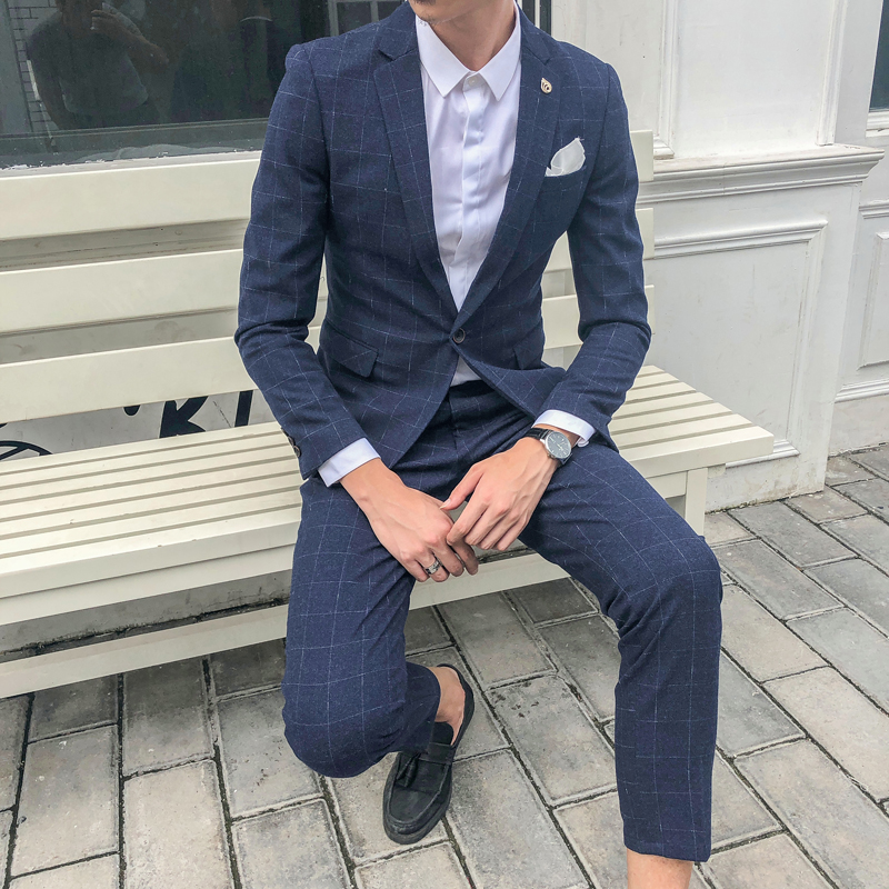 潮流格子西服套装男韩版修身英伦风男士休闲结婚礼服小西装  3X 发货周期:一般在付款后2-90天左右发货,具体发货时间请以与客服协商的时间为准