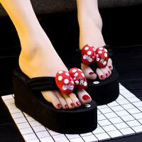 夏季厚底松糕坡跟黑色高跟人字拖女凉拖鞋沙滩鞋夹脚防水台 8厘米米奇 红色 偏小1码