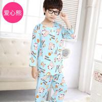 男童儿童睡衣男孩夏季长袖棉绸绵绸家居服套装宝宝小孩中大童薄款