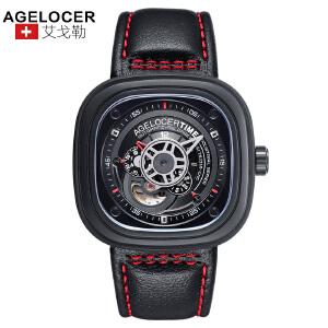 agelocer艾戈勒 瑞士进口品牌手表防水大表盘创意潮流男表自动机械表男士皮带腕表男1