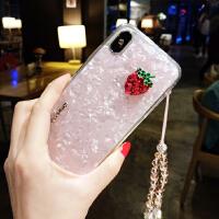 水晶挂绳苹果x手机壳水钻菠萝草莓7p潮牌8plus新款iphone6s女 苹果X 草莓+水晶挂绳