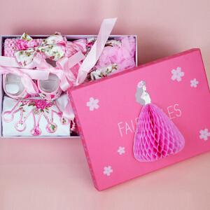 货到付款 Yinbeler女童夏新款0-3-15月女婴儿连衣裙宝宝棉短袖公主裙立体礼盒彩虹裙皇冠玫瑰