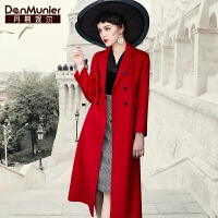 【开业狂欢 到手价:1193.6元】丹慕妮尔红色羊毛大衣女2019秋冬新款双面呢修身毛呢外套长款过膝