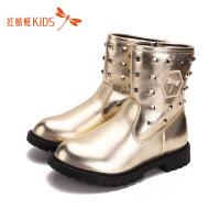 【1件2折后:35.8元】红蜻蜓女童靴子冬季单靴儿童真皮英伦风马丁靴新款时尚公主中筒靴