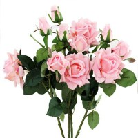 三头保湿仿真手感过胶玫瑰花玫瑰花假花绢花仿真花客厅摆设装饰花