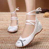 新款原创古风鞋坡跟绣花鞋民族风内增高布鞋汉服配鞋古装女单鞋子 系带白色 34